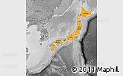 Political Shades Map of Japan, desaturated