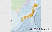 Political Shades Map of Japan, lighten