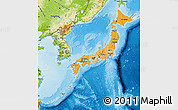 Political Shades Map of Japan, physical outside