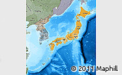 Political Shades Map of Japan, semi-desaturated, land only