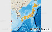 Political Shades Map of Japan, shaded relief outside, bathymetry sea