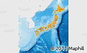 Political Shades Map of Japan, single color outside