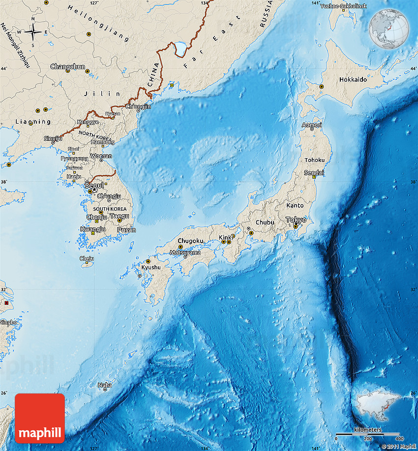 Shaded relief map of japan gumiabroncs Image collections
