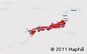 Flag Panoramic Map of Japan, flag aligned to the middle