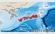 Flag Panoramic Map of Japan, shaded relief outside
