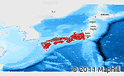 Flag Panoramic Map of Japan, single color outside, bathymetry sea