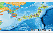 Physical Panoramic Map of Japan, political outside