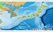 Physical Panoramic Map of Japan, political outside, shaded relief sea