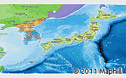Physical Panoramic Map of Japan, political shades outside