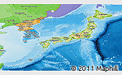 Physical Panoramic Map of Japan, political shades outside, shaded relief sea