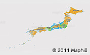 Political Panoramic Map of Japan, cropped outside