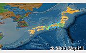 Political Panoramic Map of Japan, darken