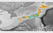 Political Panoramic Map of Japan, desaturated