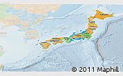 Political Panoramic Map of Japan, lighten