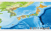 Political Panoramic Map of Japan, physical outside