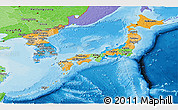 Political Panoramic Map of Japan, political shades outside