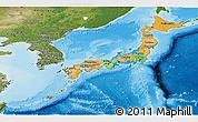 Political Panoramic Map of Japan, satellite outside, bathymetry sea