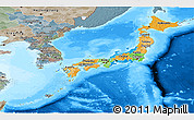 Political Panoramic Map of Japan, semi-desaturated, land only