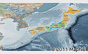 Political Panoramic Map of Japan, semi-desaturated