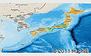 Political Panoramic Map of Japan, shaded relief outside, bathymetry sea