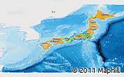 Political Panoramic Map of Japan, single color outside