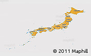Political Shades Panoramic Map of Japan, cropped outside