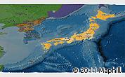 Political Shades Panoramic Map of Japan, darken
