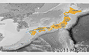 Political Shades Panoramic Map of Japan, desaturated