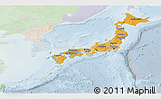 Political Shades Panoramic Map of Japan, lighten