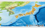 Political Shades Panoramic Map of Japan, physical outside