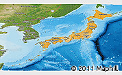 Political Shades Panoramic Map of Japan, satellite outside, bathymetry sea