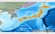 Political Shades Panoramic Map of Japan, semi-desaturated, land only