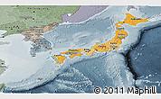 Political Shades Panoramic Map of Japan, semi-desaturated