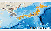 Political Shades Panoramic Map of Japan, shaded relief outside, bathymetry sea