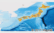 Political Shades Panoramic Map of Japan, single color outside