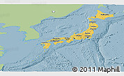 Savanna Style Panoramic Map of Japan, single color outside
