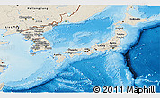 Shaded Relief Panoramic Map of Japan