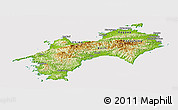 Physical Panoramic Map of Shikoku, cropped outside