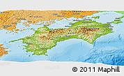 Physical Panoramic Map of Shikoku, political shades outside