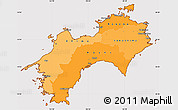 Political Shades Simple Map of Shikoku, cropped outside