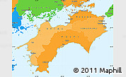 Political Shades Simple Map of Shikoku, political outside