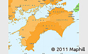 Political Shades Simple Map of Shikoku