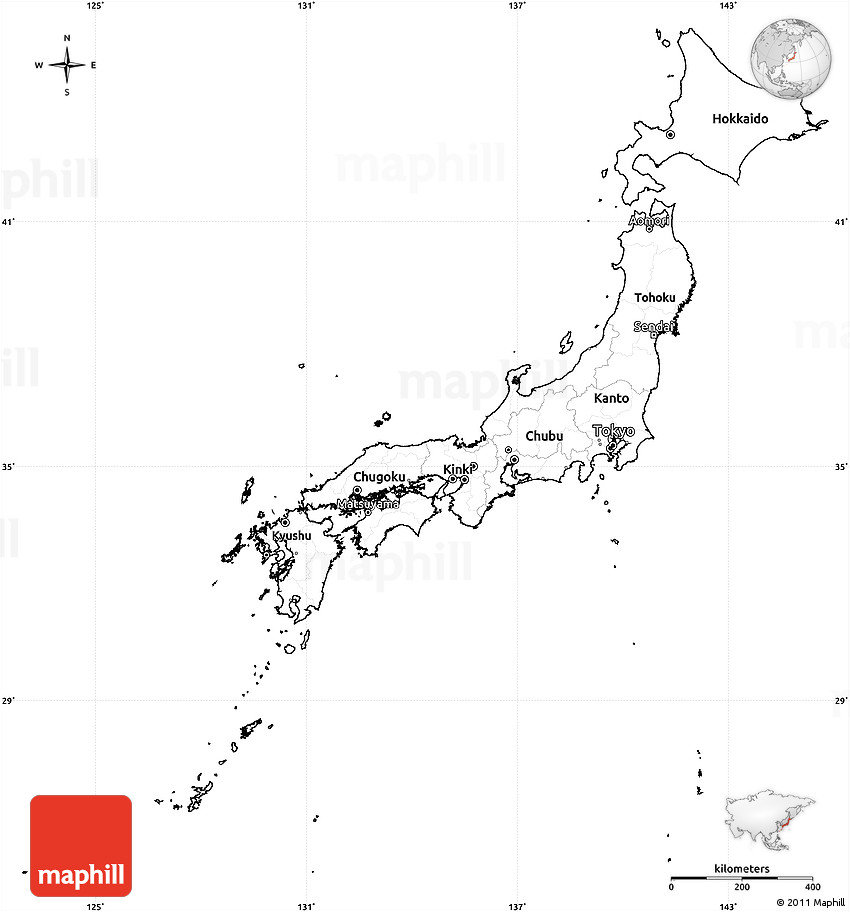 Blank Simple Map of Japan, cropped outside