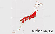 Flag Simple Map of Japan, flag centered