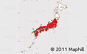 Flag Simple Map of Japan, flag aligned to the middle