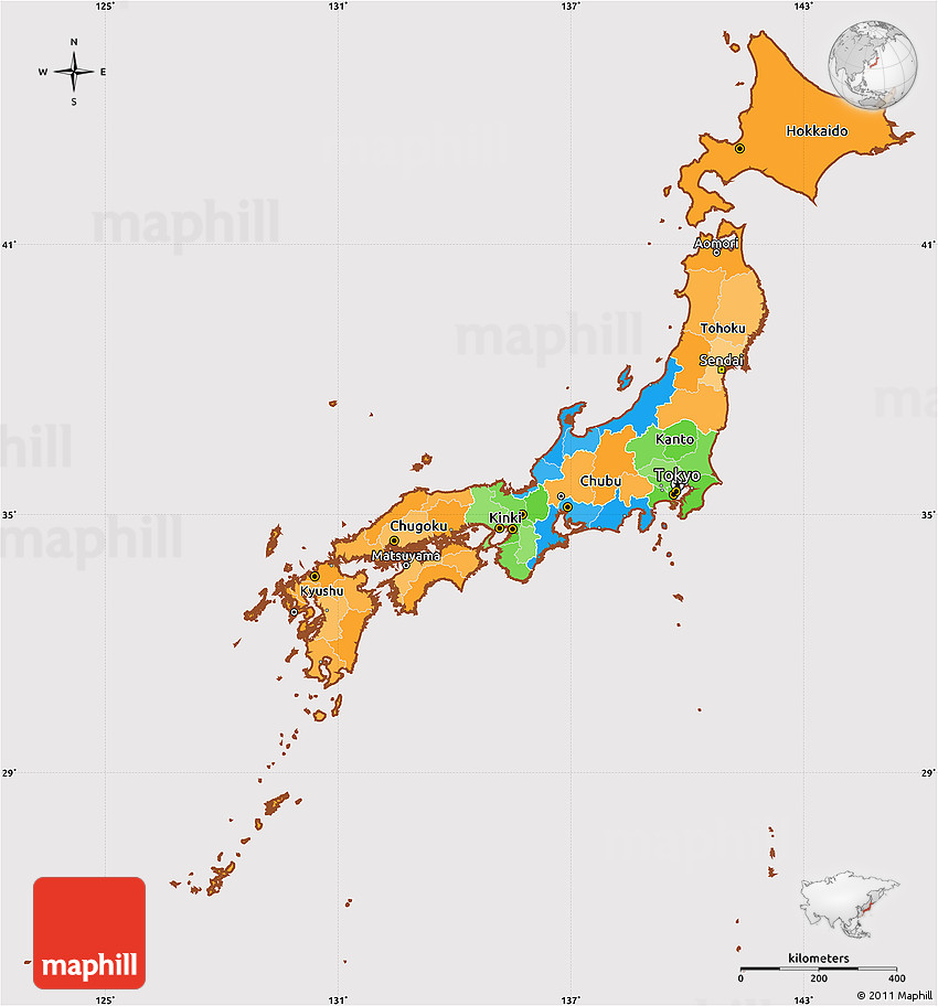 political simple map of japan cropped outside