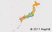 Political Simple Map of Japan, cropped outside