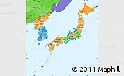 Political Simple Map of Japan, political shades outside