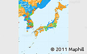 Political Simple Map of Japan