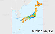 Political Simple Map of Japan, single color outside